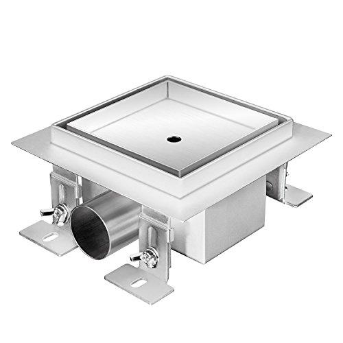Zelsius Moderne Edelstahl Duschrinne | verschiedene Modelle und Größen für ebenerdige Dusche | quadratischer Bodenablauf, Duschablauf, Bodenrinne (Gladstone, 15 x 15 cm)