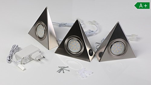 LED Unterbaustrahler 3 Set Küchenbeleuchtung Küche Schrankleuchten Dreieckleuchte neutralweiß Lampen