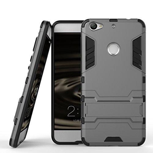 Qiaogle Telefon Case - Shockproof TPU + PC Hybrid Ständer Schutzhülle Case für Letv 1S/ LeTV X500/ LeTV LE1S/ Le 1S Helio X10 Turbo (5.5 Zoll) - HK06 / Grau