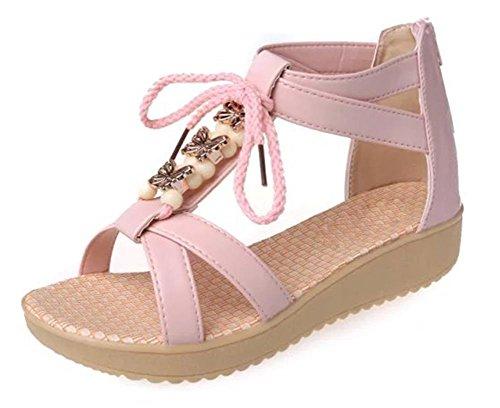 sandales de plage d'été perlés sandales plates étudiante Pink