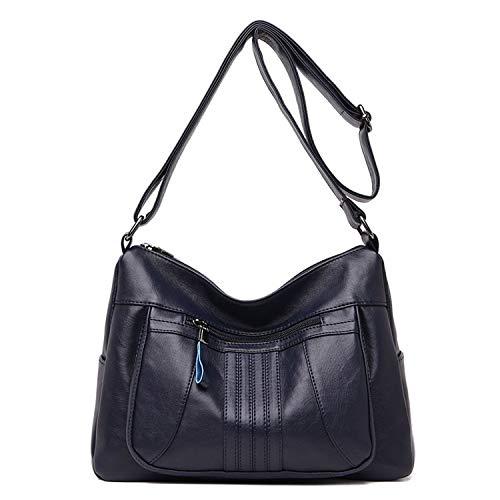 Small-shop handbags Umhängetaschen für Damen, weiches Leder, Umhängetaschen, Vintage-Design, (Deep Blue Bag), Einheitsgröße