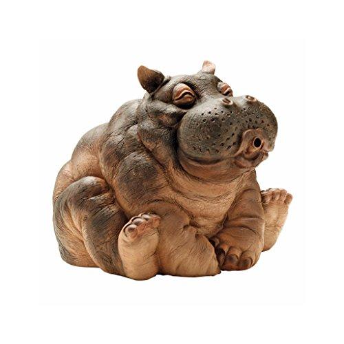 Design Toscano Hanna der Hippo Afrikanische Dejo Wasserspeierstatue, Polyresin, Vollfarbe, 25,5 cm