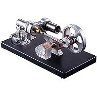 Kit de bricolaje con motor de aire caliente Stirling, kit de bricolaje con 4 piezas Luces LED Generador de electricidad Física Juguete educativo Material didáctico para profesor Estudiante Adulto