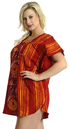 La Leela 100% des feuilles de coton batik léger 5 en 1 aloha maillot de bain maillot de bain bikini beach party couvrir nightwear robe casual Tunique robe de nuit courte caftan femmes kimono Orange