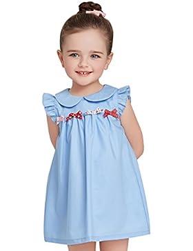 Surenow Mädchen Kinder Kleinkind Süß Rundhals Schleife A Linie Kleid Minikleid