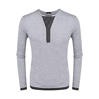 Befied Mens Long Sleeve T-Shirt Casual V-Neck Button Patchwork Basic Tee Long Sleeve Top