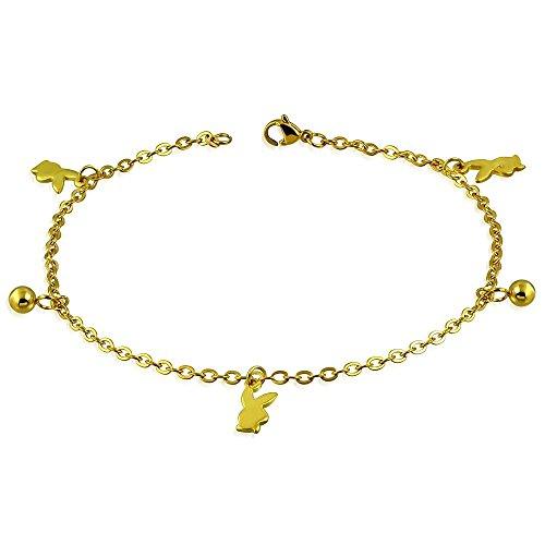 Bungsa Hase Bettelarmband Gold Edelstahl Playboy (Karabinerverschluss Bettelkette Armband Damenarmband Herrenarmband Bracelet Fusskette Anklet Chirurgenstahl Schmuck Edelstahlarmband)