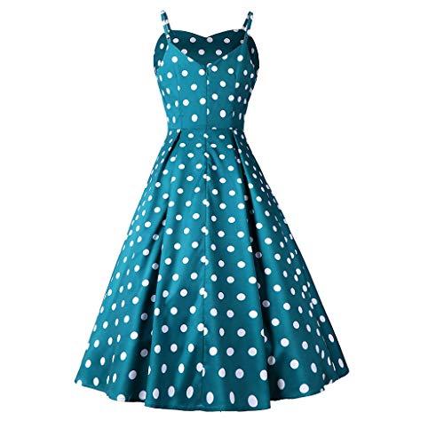 GOKOMO Frauen ärmelloses V-Ausschnitt Polka Dot Large Sleeve Rock Vintage-Kleid(Grün,Large) Puff Sleeve Hoodie