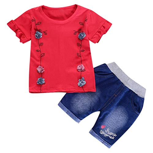 60cc137c3d7a28 Infant Baby Girl Solid Flower T Shirt Print Letter Denim Shorts 2PC Sets  Outfits