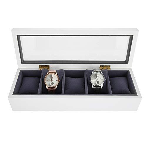 Aufbewahrungsbox für Uhren Lack zum Backen, für 5 Grids Uhren oder Schmuckkästchen Organizer und Ausstellung weiß -