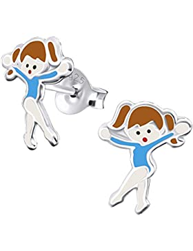 Laimons Kids Kinder-Ohrstecker Kinderschmuck Ballerina Ballett-Tänzer Blau, Braun, Weiß Sterling Silber 925