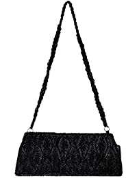 Purse Fashion Bag For Women Cross-Body Wedding Evening Party Clutch Handbag With Beaded Shoulder Strap Black 5X9.5X3...