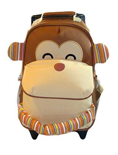 BOMIO Kinder-Trolley-Kombination | farbenfroher Kindergartenrucksack | Kindergartentasche | niedlicher Kinderkoffer | 3 Tragemöglichkeiten | lustiger Affe