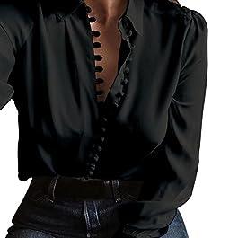 75d6ceb388bf Amlaiworld Donna Casuale Solido Manica Lunga Camicetta Camicia Bavero  Elegante Bluse ...