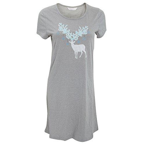 Chemise de nuit à motif cerf à paillettes - Femme Gris/Eau