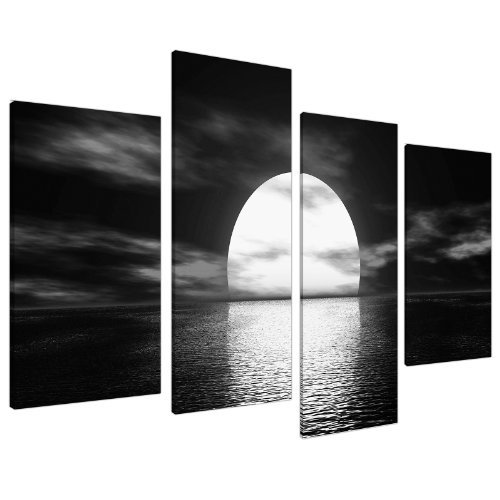 Large black white canvas wall art pictures 130cm wide prints xl 4003