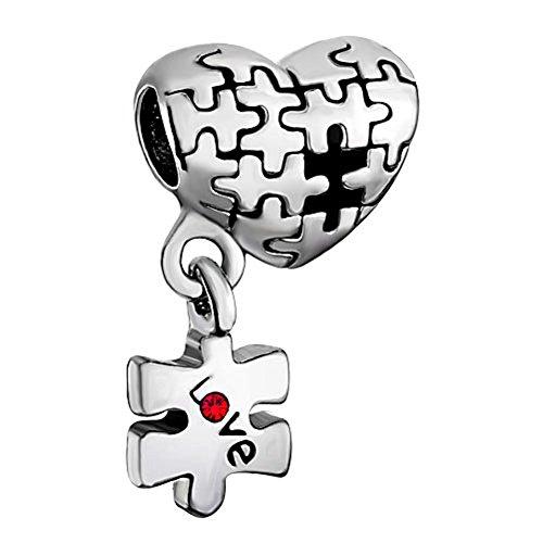 uniqueen Love Regalo autismo puzzle de corazón rojo colgante cristal Charms Nueva venta barato Beads Fit Pandora pulsera