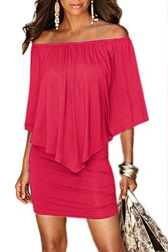 Damen 3/4 Ärmel ab Schulter figurbetonten Mini Kleid Red