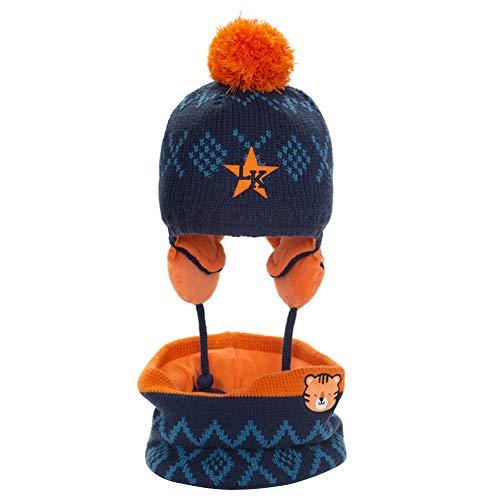 CHIRORO Unisex Baby Jungen Mädchen Mütze Schal Set Winter Warm Beanie Strickmütze mit Pom Pom Wintermütze mit Ohrenschützer Kreis Schal,Navy blau