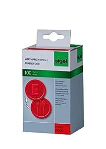 """Sigel WM001 Lot de 100 Jetons """"Repas"""", Ø2,5 cm, rouge"""