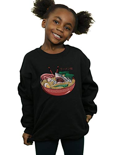 Shark Kinder Sweatshirt (Absolute Cult Vincent Trinidad Mädchen Ramen Shark Sweatshirt Schwarz 5-6 Years)