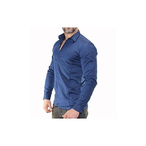 Chemise classe homme manche longue Bleu