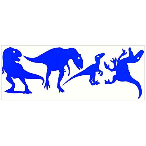 LiteMark Dinosaurier-Aufkleber für Helme, Fahrräder, Kinderwagen, Rollstühle und mehr, 3 Stück, blau