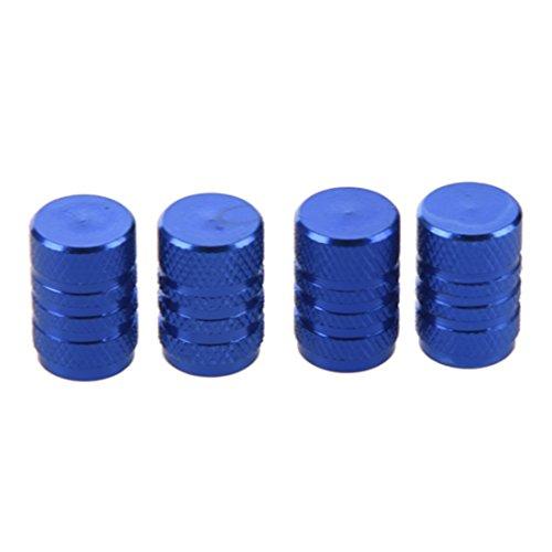 Autoreifen Ventilkappen - TOOGOO(R) 4 Stuecke blau Legierung Auto Reifen Ventilkappen Autoventil Verschlusskappen