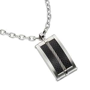 ZEEme Herren-Halskette mit Anhänger 50cm Motiv Rechteck schwarz 500043752-50