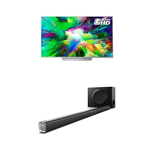 Philips 49PUS7803/12 49-Inch 4K Ultra HD Android Smart TV with HDR Plus, 3-sided Ambilight and Philips HTL5160B/12 3.1 Streaming-Soundbar