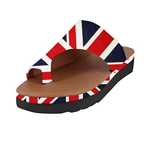 Dorical Sandalen für Damen,Frauen Thick Bottomed Sandal Schuhe Keilabsatz Sandalen Clip Toe Sommer Strand Schuhe(Rot-1,35 EU)