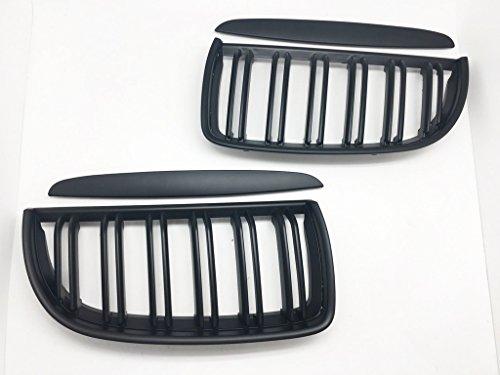 (2) Noir mat avant double fin Grill Grille pour E90 E91 05-08 320i-335i Sedan WG