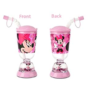 Disney Minnie Mouse Snowglobe Tumbler with Straw Fun Floats Sipper Tumbler Drinking Bottle