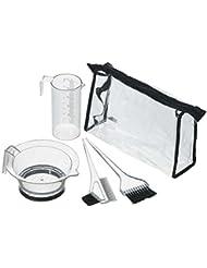 Comair Färbezubehör Set, 5-teilig, transparent Tasche, Messbecher, Färbeschale und Färbepinsel