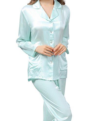 ELLESILK Seide Pyjama Lange Ärmel für Frauen, Seide Schlafanzug, Damen Nachtwäsche Mintgrün