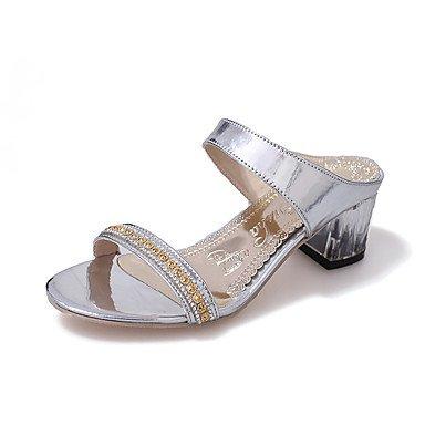 zhENfu Donna Sandali Comfort estivo PU Outdoor a piedi tacco basso Argento Oro Silver