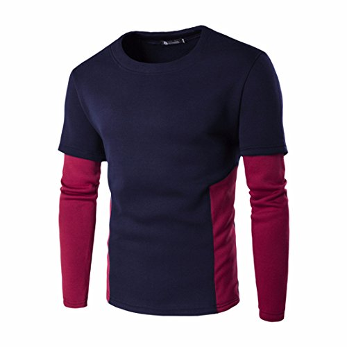 Men's Crewneck Patchwork Fleece Pullover Slim Fit Sweatshirts Navy