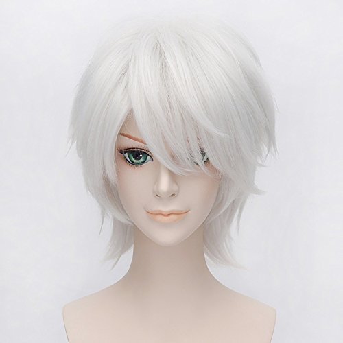 LanTing Cosplay Perücke Hetalia Axis Powers/APH Prussia Silvery White Perücke Corta Styled Frauen Cosplay Party Fashion Anime Human Costume Full wigs Synthetic Haar Heat Resistant ()