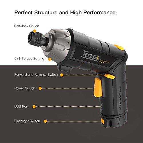 Atornillador Eléctrico Inalámbrico TECCPO 6Nm Destornillador Eléctrico 3.6V 45 Accesorios Recargable Baterías 2.0Ah 9+1 Engranajes de Par luz LED Manija Ajustable de dos Posiciones Carga USB TDSC01P