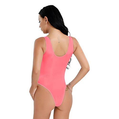 CHICTRY Damen Ärmellos Body Stringbody Hohe geschnitten Thong Leotard Lingerie transparent Unterhemd Einteiler Bodysuit - Einheitsgröße Wassermelonen Rot