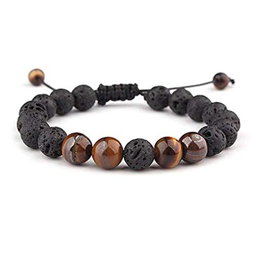 LJSLYJ Einstellbare Lava Rock Stein ätherisches Öl Angst Diffusor Armband Meditation entspannen Heilung Aromatherapie für Frauen Mann Geschenk, braun -