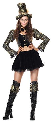 Fancy Me Damen schwarz/Gold Sexy Verrückter Hutmacher Alice im Wunderland Märchen Henne Do büchertag Woche Party Kostüm Kleid Outfit UK 6-16 - Schwarz, ()