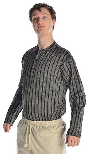 HEMAD Herren Hemd Fischerhemd S-XXXL gestreift blau-weiß, beige-braun, türkis, bunt, rot, braun, schwarz reine Baumwolle Schwarz