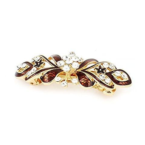 sourcingmap® Dame Métal Faux diamant incrusté Fleur Désign Français pince cheveux brun doré