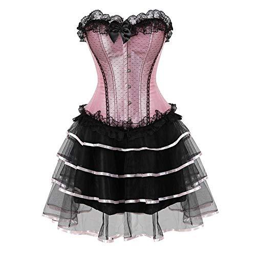 DHDHWL Korsett Red Halloween Schnürkorsett Kleid Rock Moulin Rouge Plus Size Abnehmen Taille Bustiers Und Korsett @ 3XL_1