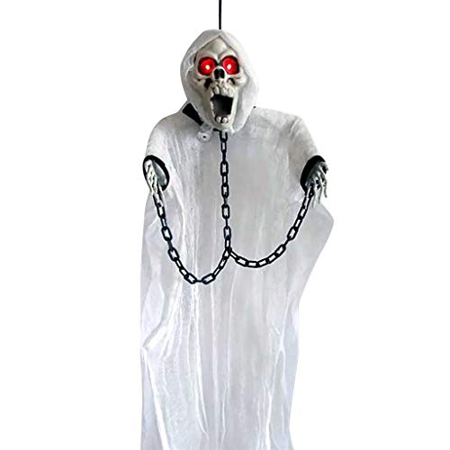 Einfach Halloween Beängstigend Kostüm - Halloween hängende Ghost Prop Scary Decor Outdoor Ghost mit Sound und Licht Halloween Kostüm Party Requisiten