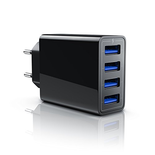 Aplic - 5a caricabatterie da muro | alimentatore parete 4 port usb 5000ma | caricatore usb per samsung galaxy s8 / s8+ / note 8, lg g5 / g6, nexus 5x / 6p, htc 10, iphone x / 8 / 8 plus, ipad pro / air ecc | nero
