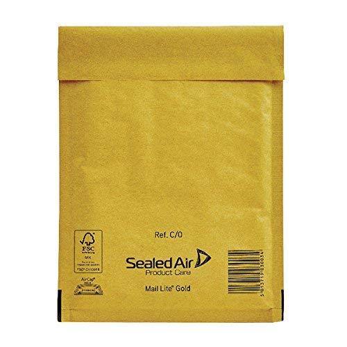 Mail lite c/0 jl0 - buste imbottite a bolle d'aria, confezione da 100 pezzi, 150 x 210 mm, colore: oro