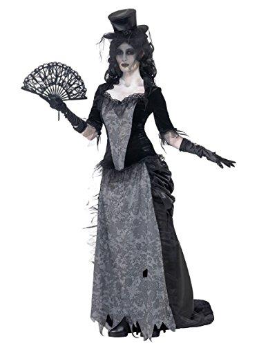Damen Wilder Westen Witwe Ghost Town Mädchen Saloon Halloween Kostüm Kleid Outfit 8-18 - Schwarz, 12-14