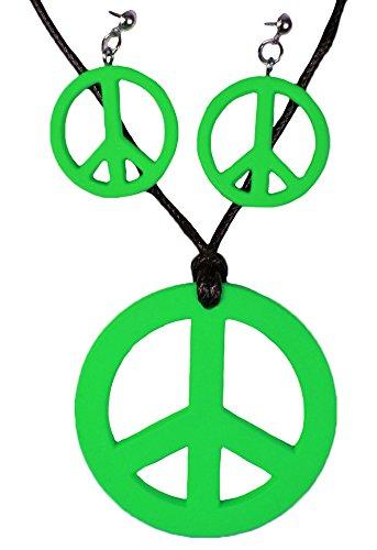 Das Kostümland Juego de 3 Joyas Hippie Peace (Verde)